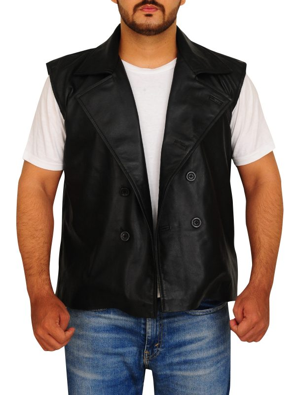 black biker vest, biker leather vest,