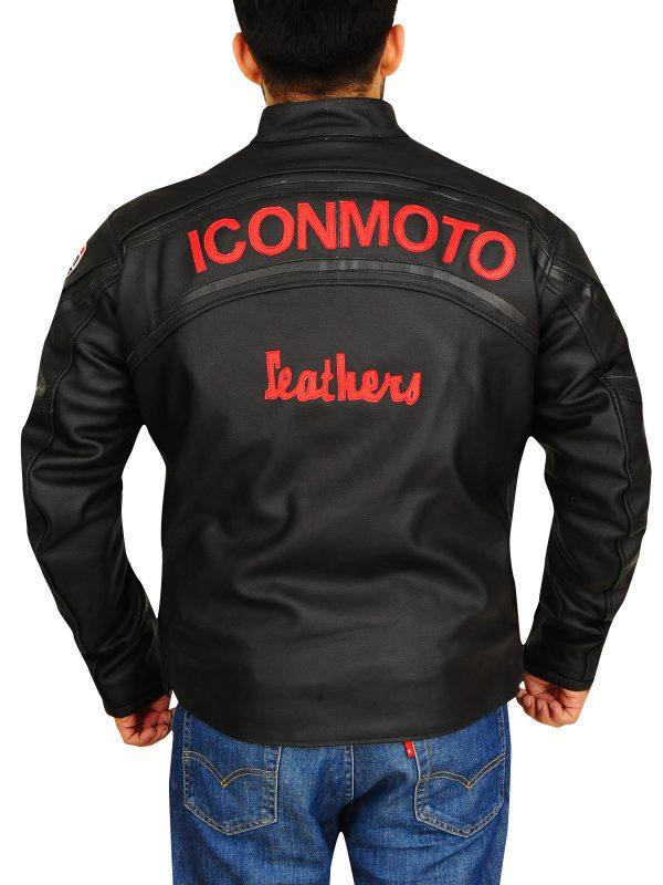black biker leather jacket, padded motorcycle jacket,