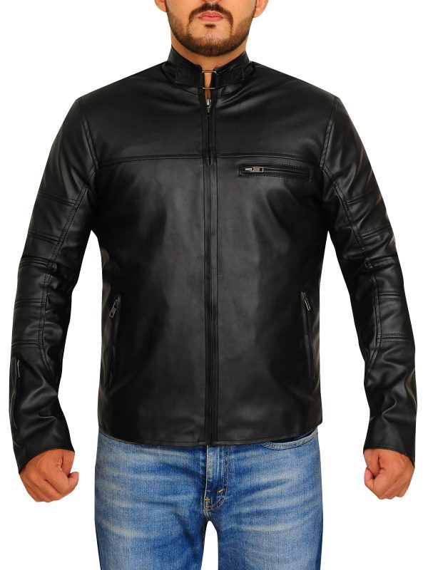 slim fit biker leather jacket, slim fit black leather jacket,