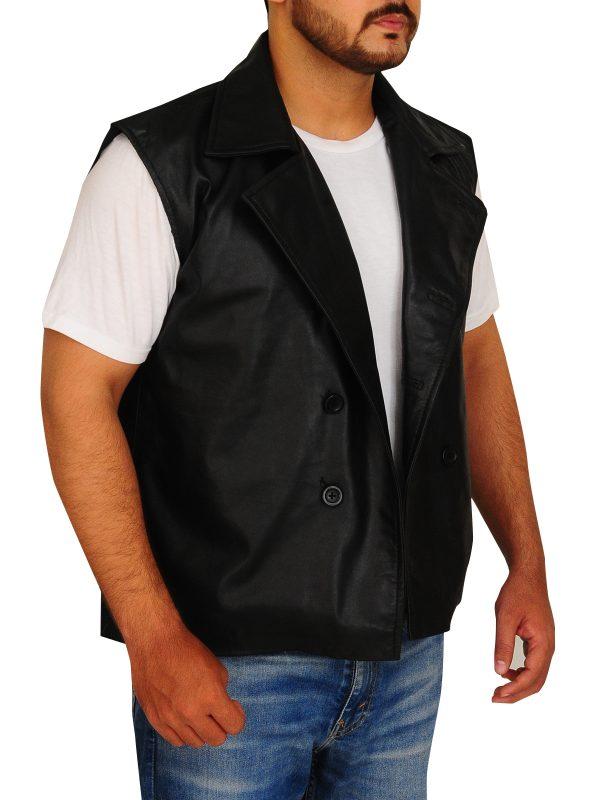 black leather vest for men, men black biker vest,