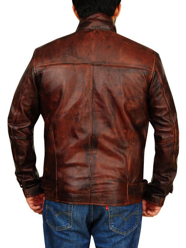 men brown leather jacket, distressed leather jacket,