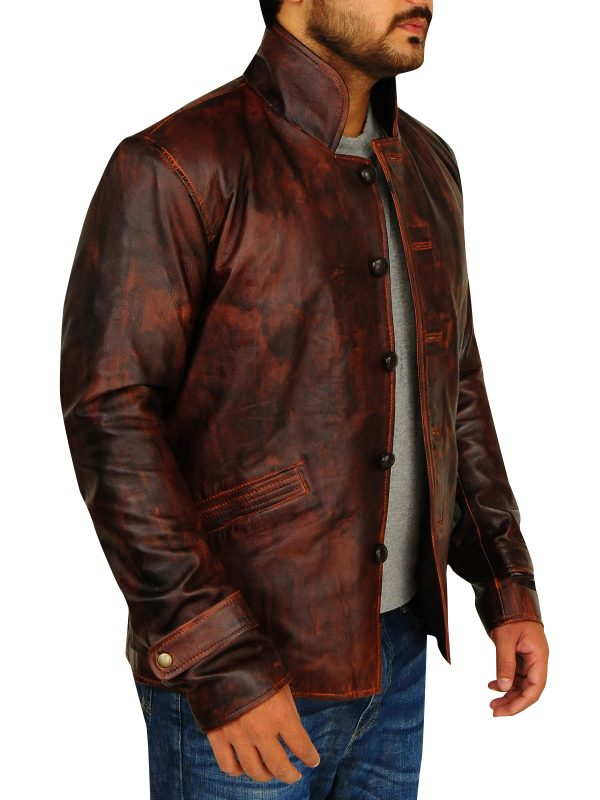 fitted brown leather jacket, chocolate brown leather jacket,