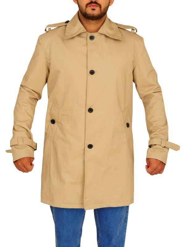 brown cotton long coat, men office wear long coat,