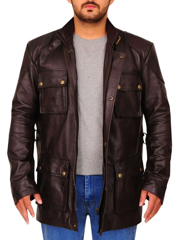 macho looking leather jacket, dashing brown leather jacket,