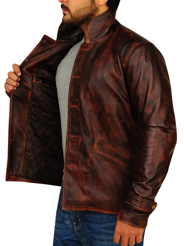 distressed leather jacket for men, brown leather jacket for men,