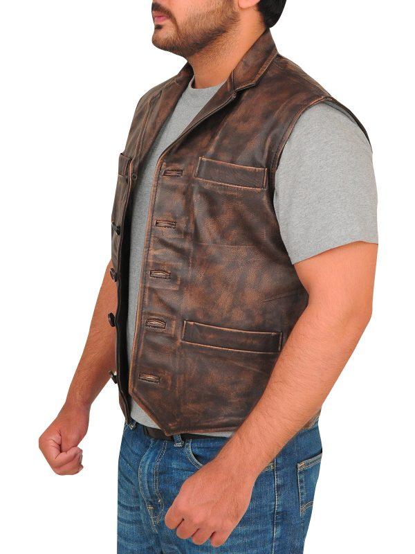 brown leather vest, leather vest for men,
