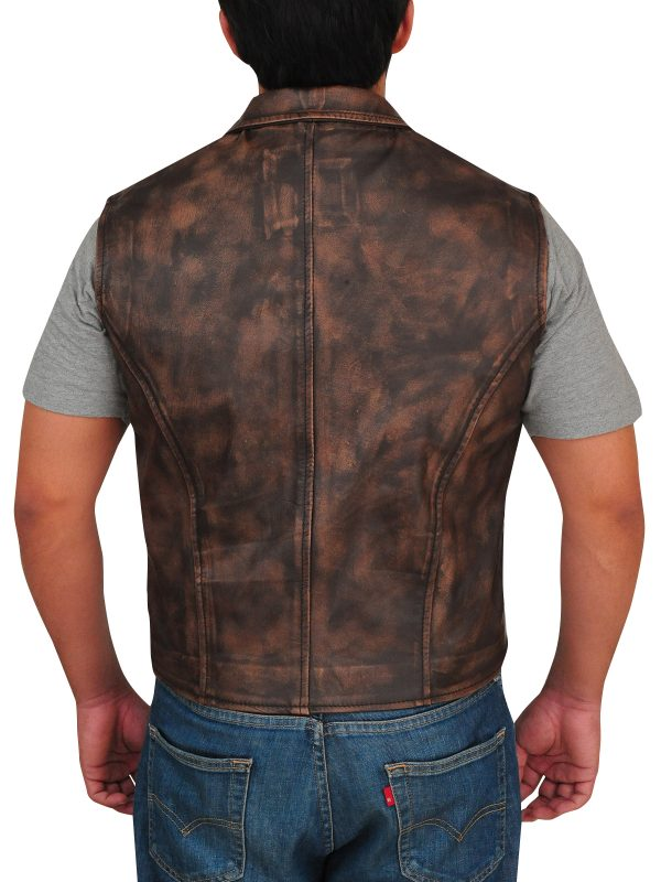 rugged leather vest, rugged brown vest men,