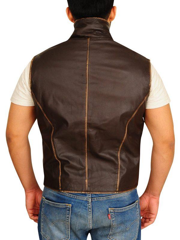 brown leather vest, distressed brown vest,