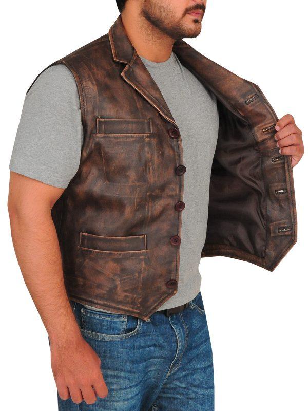 dark brown leather vest men, men brown leather vest,