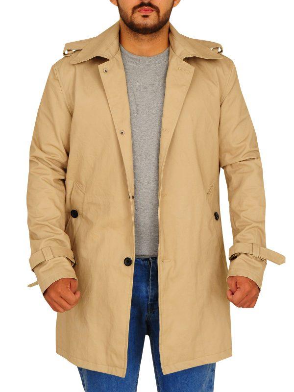 beige trench coat, light brown trench coat,