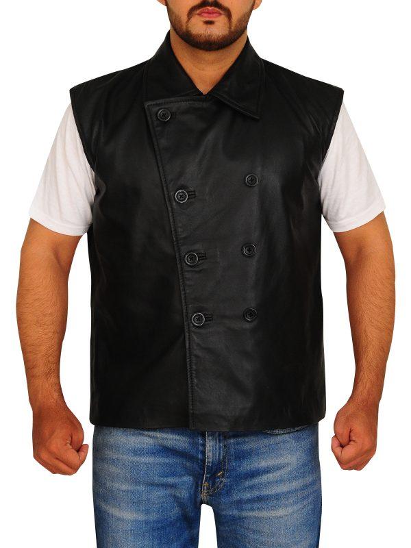brando leather vest, collar leather vest,