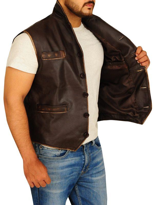 rub buff vest for men, rub buff leather vest for men,