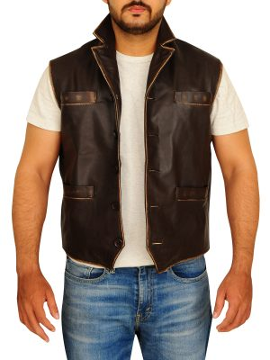 men leather vest, men brown leather vest,