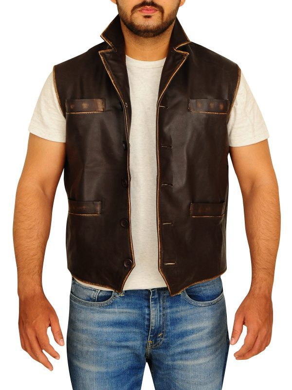 men leather vest, men brown leather vest,