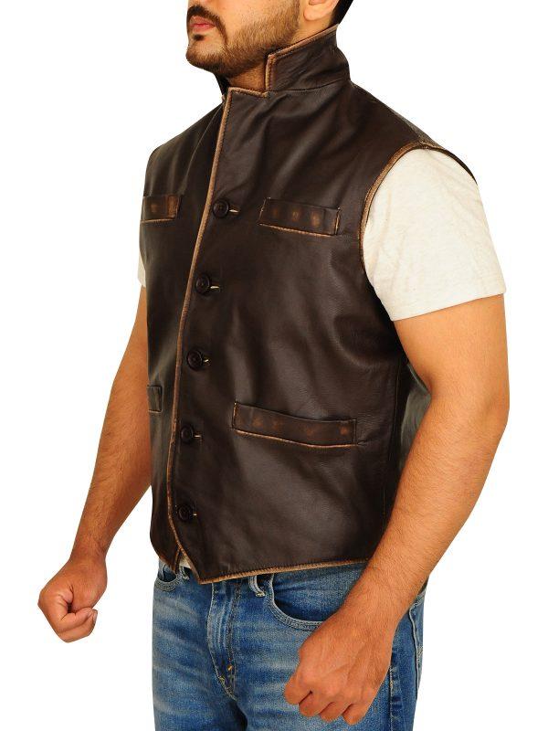 distressed brown leather vest for men, men brown distressed vest,