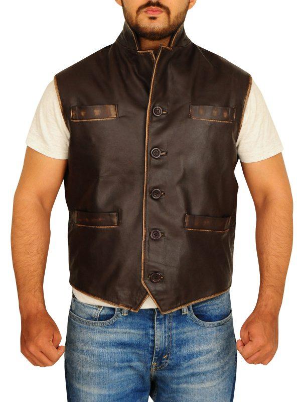 brown biker vest, brown leather vest men,