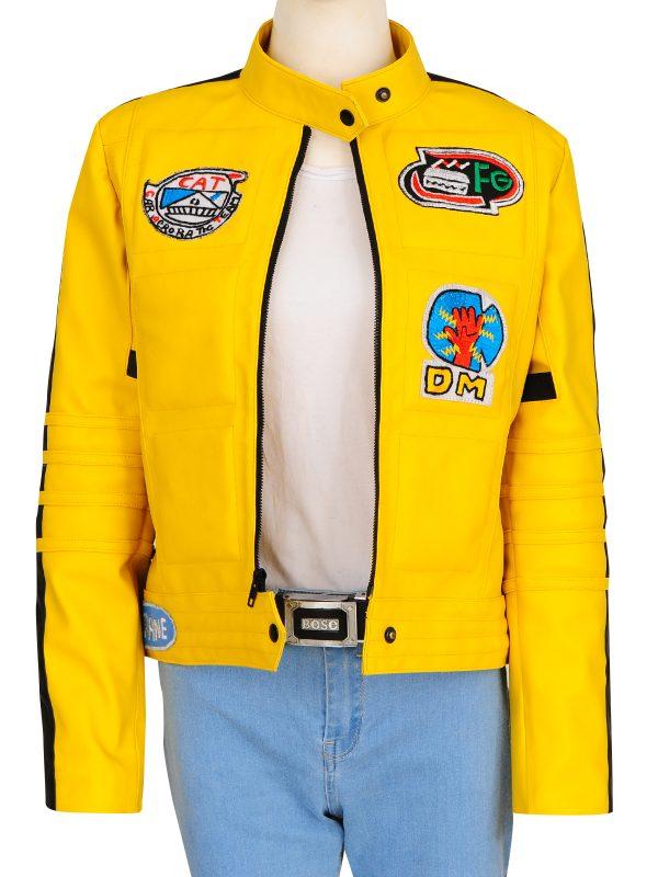 stylish yellow women jacket, yellow leather jacket for girls
