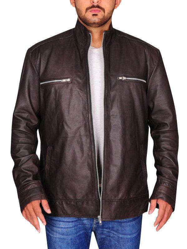 brown leather jacket, brett dalton jacket,