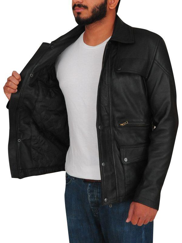 flap pocket leather jacket, Mne's black jacket,