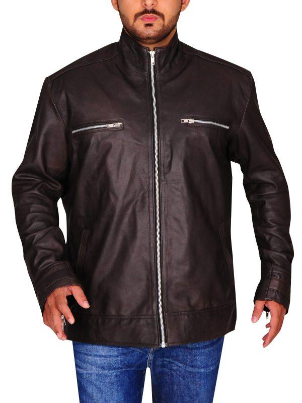 brett dalton brown jacket, men's leather jacket,