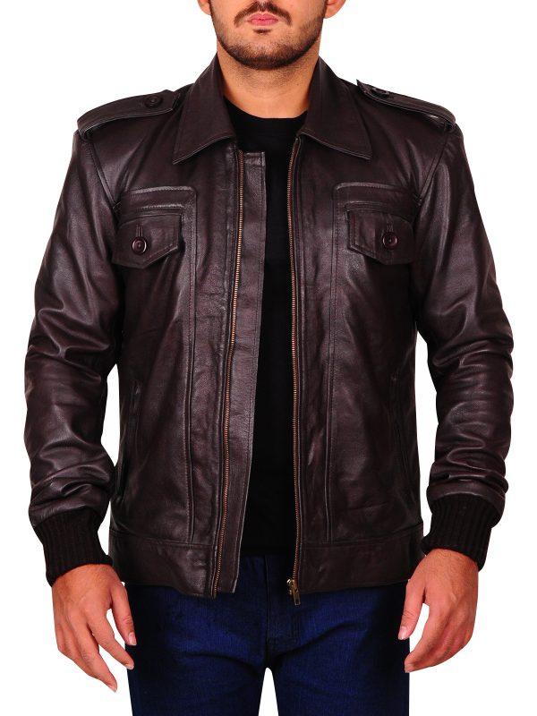 Chris Evans brown leather jacket, Chris evans clothing,