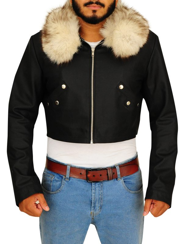 fur collar men's jacket, fur collar bacl jacket,