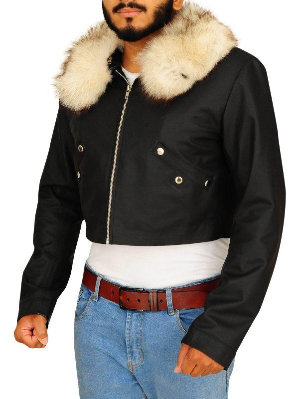 men's black fur jacket, fur jacket for men,