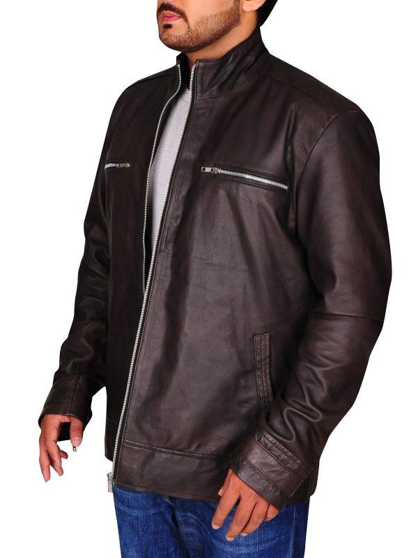slim fit brown leather jacket, brown leather jacket for men,