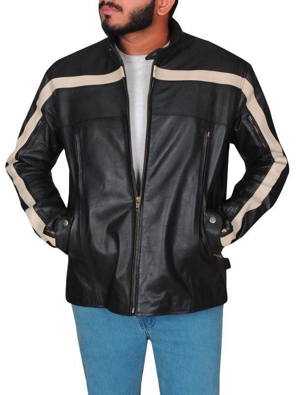 Men's rocket leather jacket, Men's slim fit jacket,