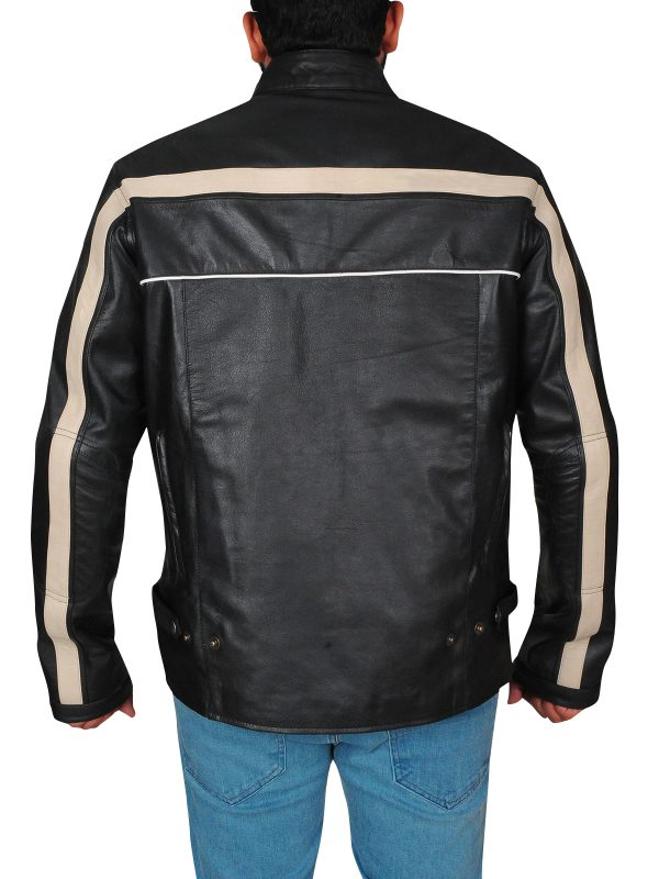 black motorcycle jacket, black with one stripe jacket,
