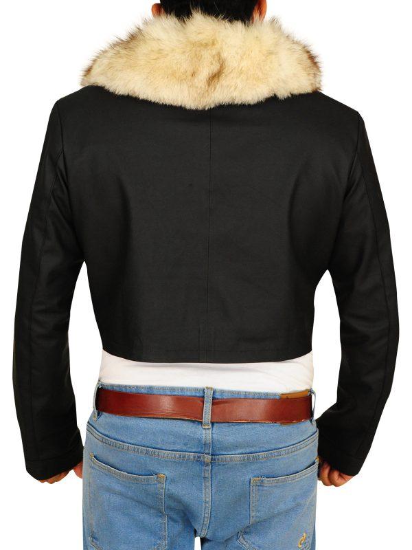 stylish faux fr jacket, stylish fur collar jacket,
