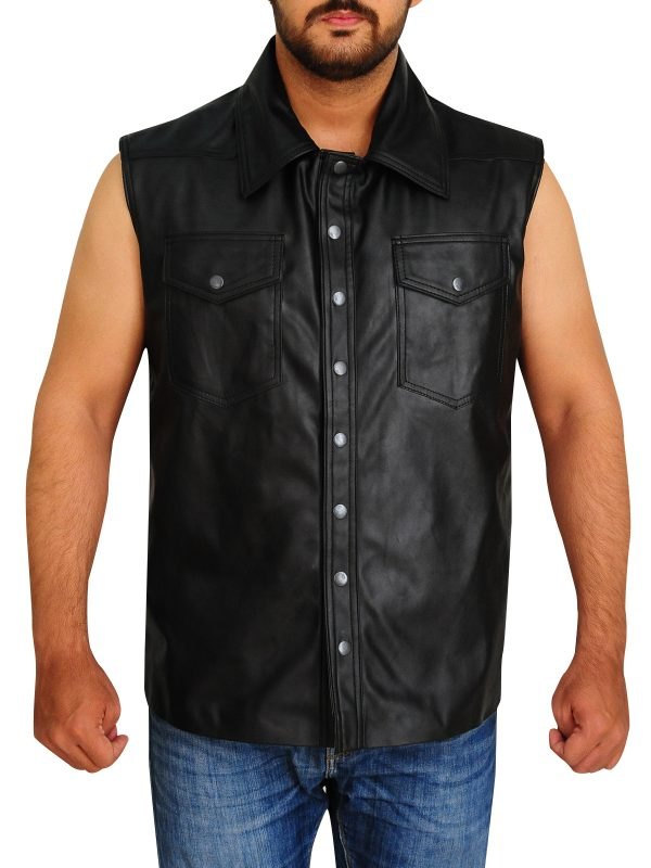 wwe leather vest, wrestler leather vest,