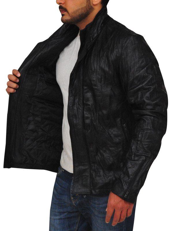 dashing black leather jacket, celebrity leather jacket,