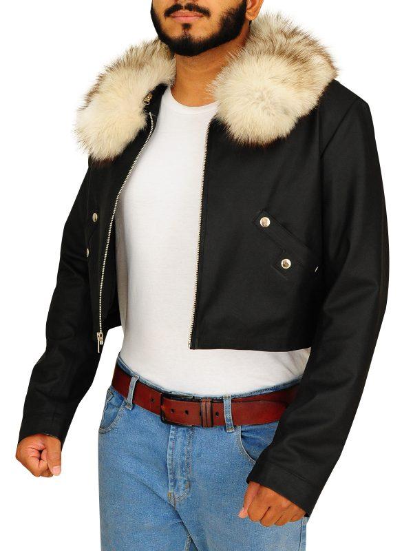 trendy fur collar jacket, trending men's fur jacket,