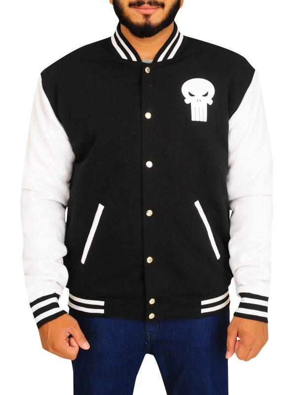 cheap skull logo varsity jacket, men skull logo varsity jacket,