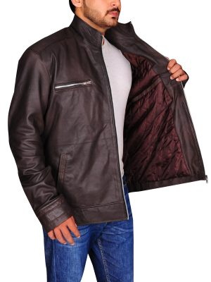 agents of shield leather jacket, brown men jacket,