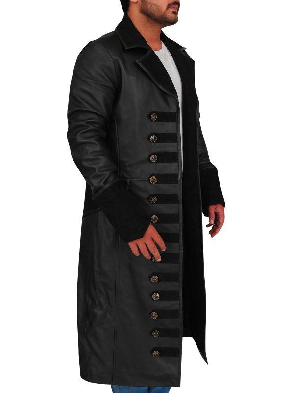 captain hook black coat, black trench coat,