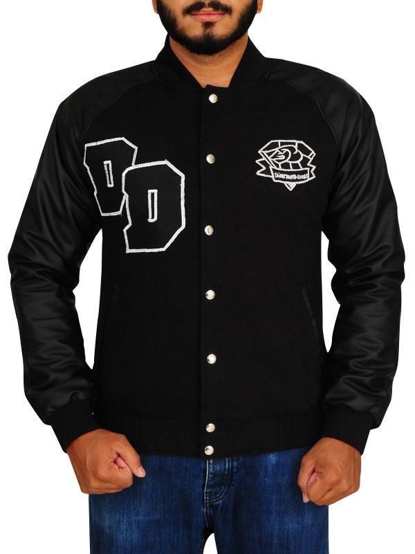 black letterman jacket, lettermen varsity jacket,