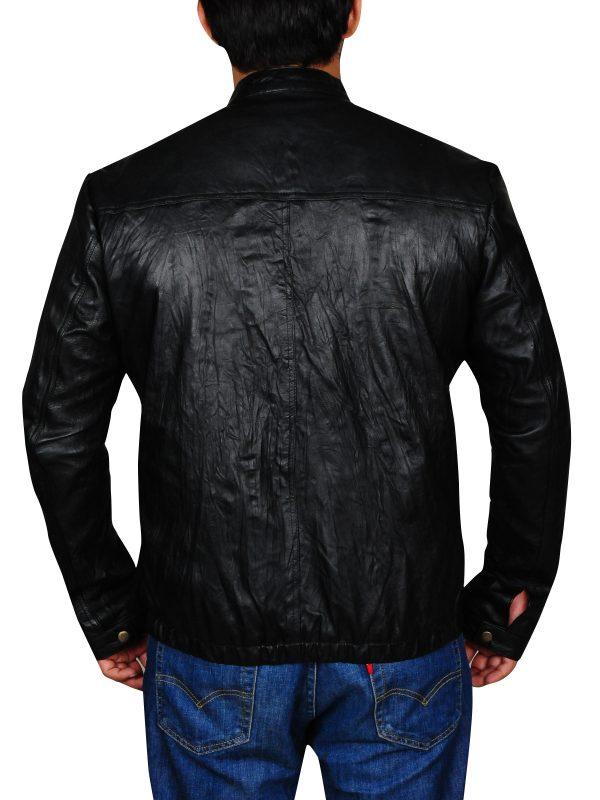 wrinkle leather jacket, dashing zac efron jacket,