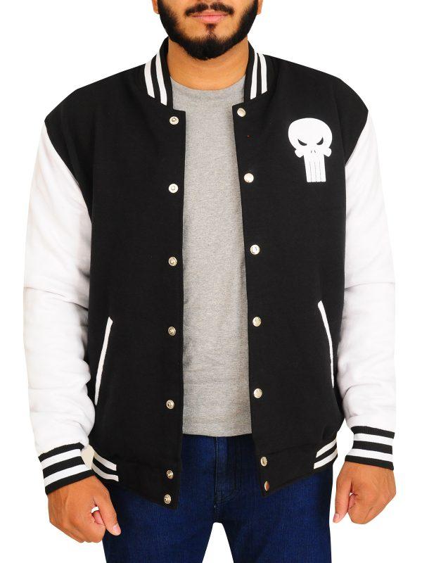 skull logo varsity jacket for men, men white skull jacket,