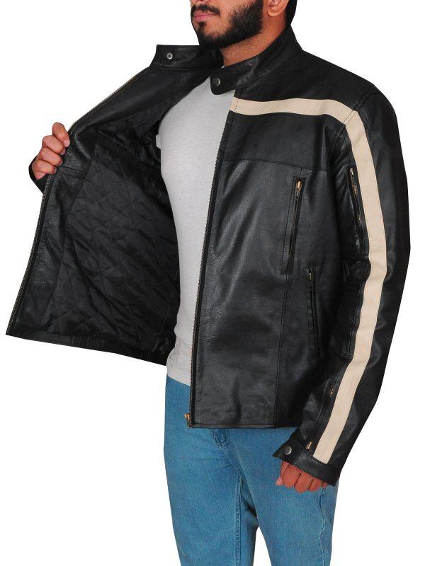 zipper leather jacket, black men jacket,