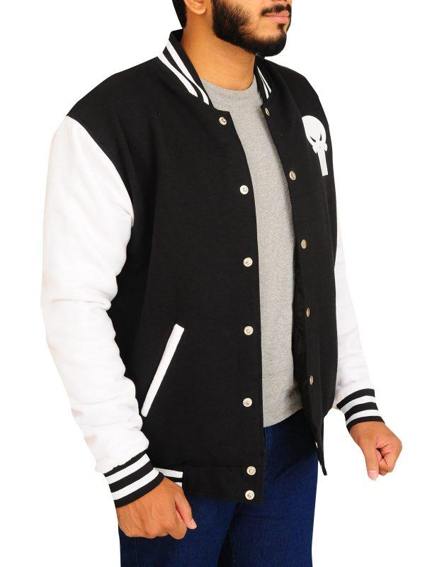 button varsity jacket, men varsity jacket skull logo,