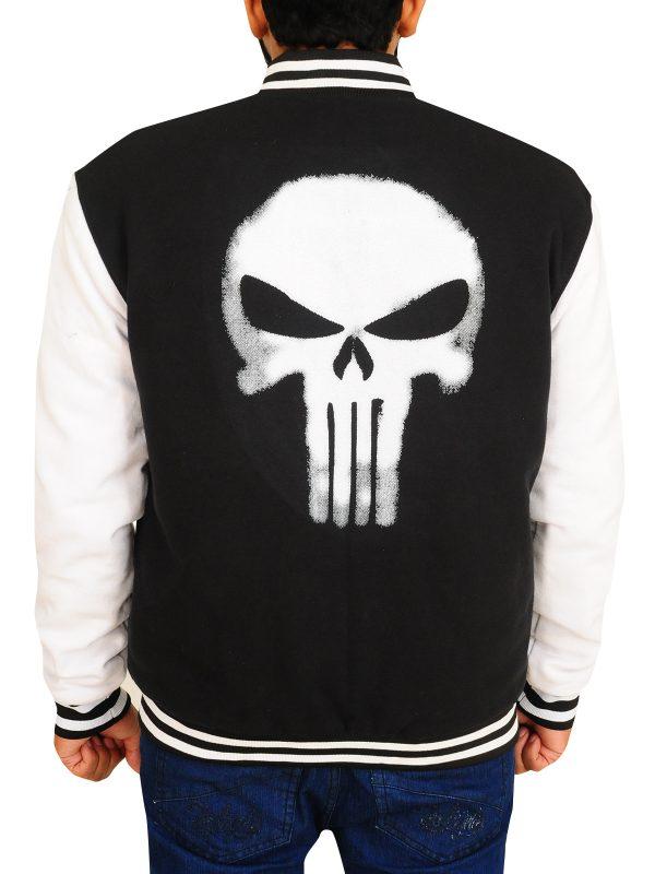 skull logo black varsity jacket, skull logo varsity jacket for boys,