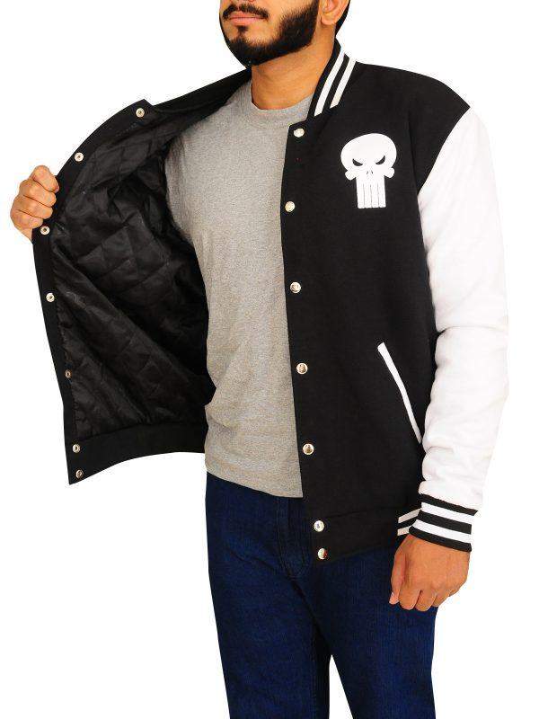 fleece varsity jacket, rib knitted varsity jacket,