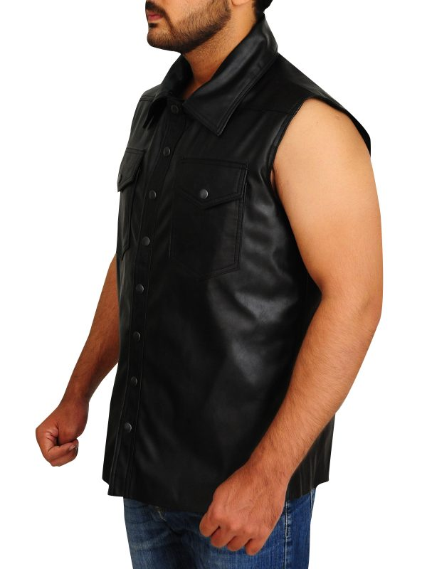 undertaker leather vest for men, men's undertaker vest,