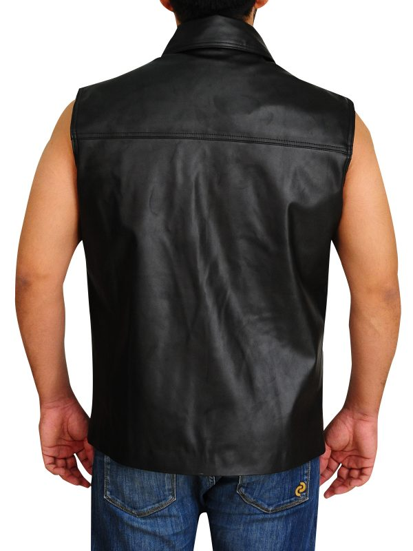 faux leather undertaker vest, slim fit men's black vest
