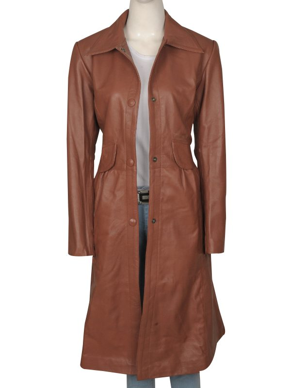 Doctor Who leather coat, Doctor Who brown women coat,
