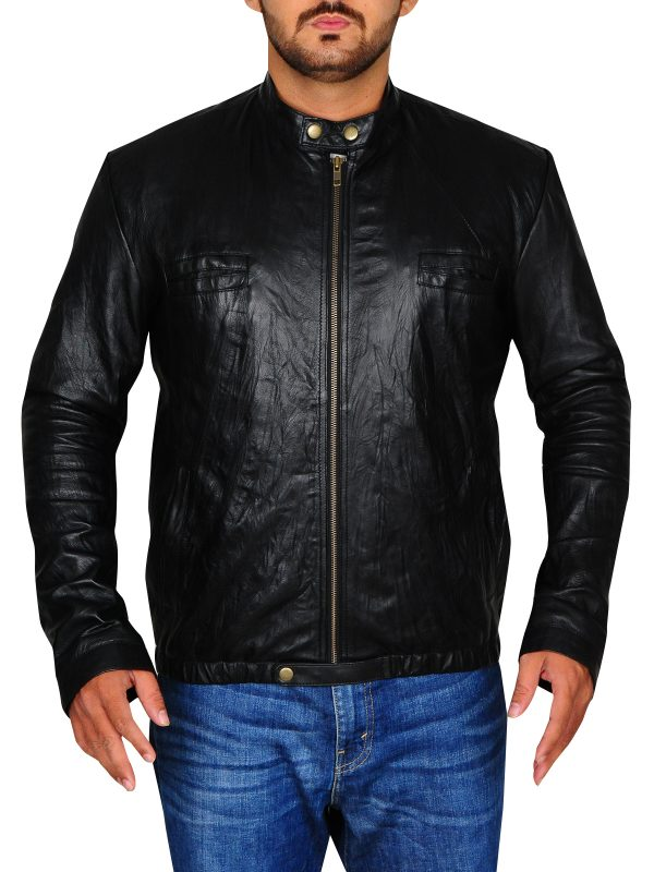 trending black leather jacket, trendy slim fit jacket,