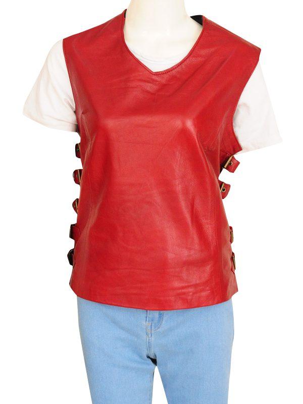 zoe washburn vest, zoe washburn maroon vest,
