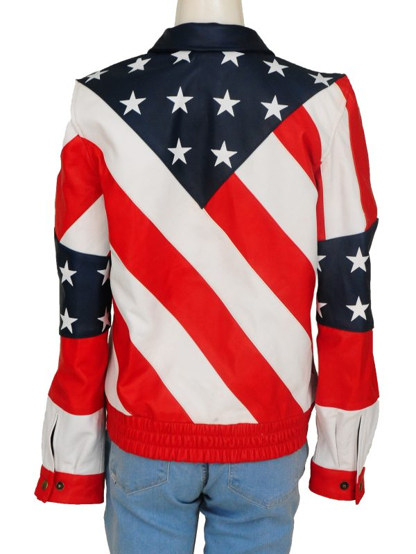 Flag of america leather jacket for women, USA flag leather jacket for women,